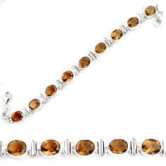 38.49cts brown smoky topaz 925 sterling silver tennis bracelet jewelry p70682
