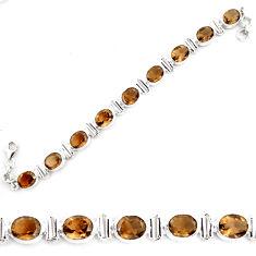 38.49cts brown smoky topaz 925 sterling silver tennis bracelet jewelry p70682
