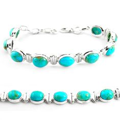 35.09cts fine green turquoise 925 sterling silver tennis bracelet jewelry p70705