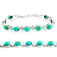 36.96cts fine green turquoise 925 sterling silver tennis bracelet jewelry p70710