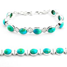 37.86cts fine green turquoise 925 sterling silver tennis bracelet jewelry p70714