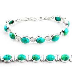 37.88cts fine green turquoise 925 sterling silver tennis bracelet jewelry p70715