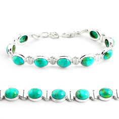 33.99cts fine green turquoise 925 sterling silver tennis bracelet p70702