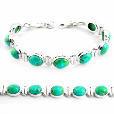 34.69cts fine green turquoise 925 sterling silver tennis bracelet p70703