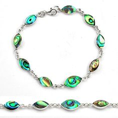 6.02gms green abalone paua seashell enamel 925 silver tennis bracelet c4462