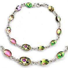 5.48gms green abalone paua seashell enamel 925 silver tennis bracelet c4463