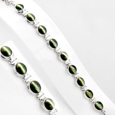 38.49cts green cats eye 925 sterling silver tennis bracelet jewelry p89043