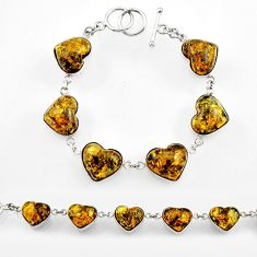 43.10 amber from colombia haert 925 sterling silver bracelet jewelry r44742