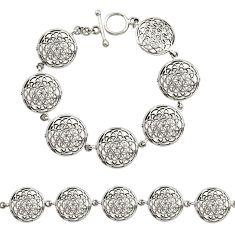 925 plain silver 13.48gms indonesian bali style solid flower bracelet c9904