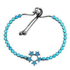 925 silver adjustable turquoise black rhodium bracelet star c17002