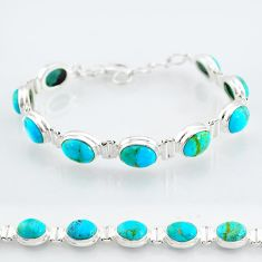 925 silver 34.19cts blue arizona mohave turquoise oval tennis bracelet t4590
