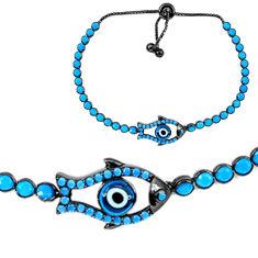 925 silver blue evil eye talismans rhodium adjustable tennis bracelet c20554