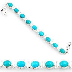 Clearance Sale- 925 silver 36.26cts blue sleeping beauty turquoise oval tennis bracelet d44354