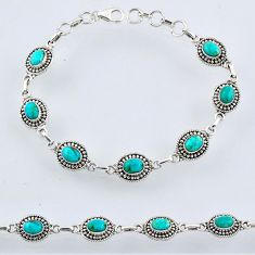 925 silver 9.01cts green arizona mohave turquoise tennis bracelet r54937
