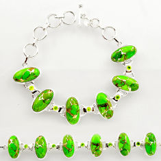 925 silver 46.60cts green copper turquoise oval peridot tennis bracelet r27472