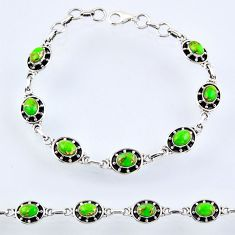 925 silver 9.79cts green copper turquoise oval tennis bracelet jewelry r55040