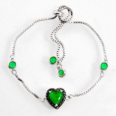 925 silver 4.24cts green emerald (lab) heart topaz adjustable bracelet c9720