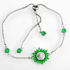 925 silver 4.74cts green emerald (lab) topaz adjustable bracelet jewelry c9711