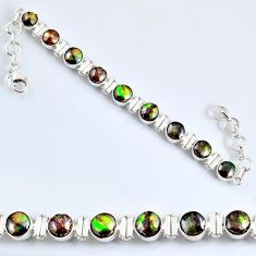 925 silver 23.44cts natural ammolite (canadian) oval tennis bracelet r60925