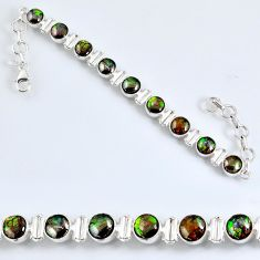 925 silver 25.87cts natural ammolite (canadian) oval tennis bracelet r60930