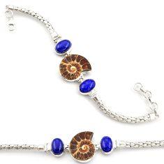 925 silver 36.87cts natural ammonite fossil lapis lazuli tennis bracelet d45853