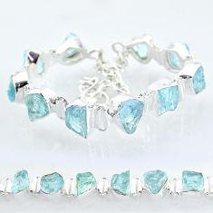925 silver 37.03cts natural aqua aquamarine raw fancy tennis bracelet t6694