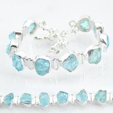 925 silver 35.24cts natural aqua aquamarine raw fancy tennis bracelet t6697