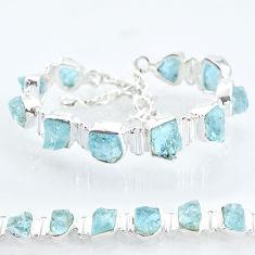 925 silver 38.46cts natural aqua aquamarine raw tennis bracelet t6693