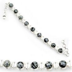 Clearance Sale- 925 silver 26.67cts natural black australian obsidian tennis bracelet d44333