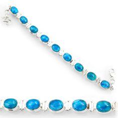 Clearance Sale- 925 silver 37.79cts natural blue apatite (madagascar) tennis bracelet d44350