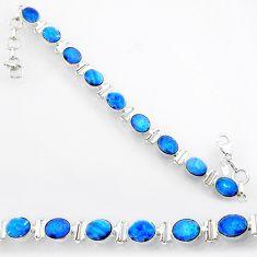 925 silver 24.52cts natural blue doublet opal australian oval bracelet r71627