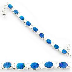 925 silver 22.04cts natural blue doublet opal australian tennis bracelet d44360