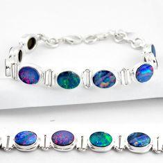 925 silver 19.99cts natural blue doublet opal australian tennis bracelet r38964