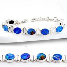 925 silver 20.27cts natural blue doublet opal australian tennis bracelet r38969