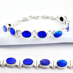 925 silver 19.96cts natural blue doublet opal australian tennis bracelet r38974