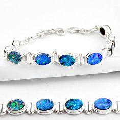 925 silver 20.26cts natural blue doublet opal australian tennis bracelet r38978