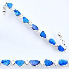 925 silver 28.84cts natural blue doublet opal australian tennis bracelet r56544