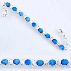 925 silver 19.89cts natural blue doublet opal australian tennis bracelet r61767