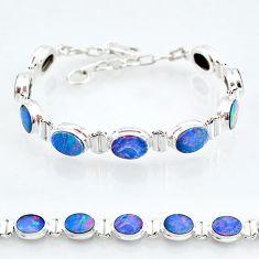 925 silver 24.62cts natural blue doublet opal australian tennis bracelet t4164