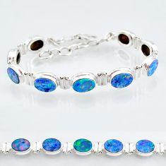 925 silver 24.53cts natural blue doublet opal australian tennis bracelet t4169