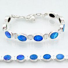 925 silver 24.19cts natural blue doublet opal australian tennis bracelet t4172
