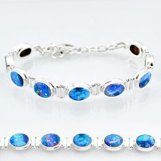 925 silver 24.34cts natural blue doublet opal australian tennis bracelet t4175
