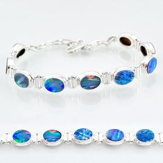 925 silver 24.60cts natural blue doublet opal australian tennis bracelet t4179
