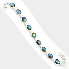 925 silver 36.96cts natural blue labradorite oval shape tennis bracelet r84304