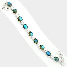 925 silver 37.88cts natural blue labradorite oval shape tennis bracelet r84318