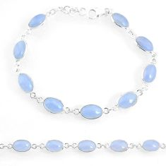 925 silver 17.20cts natural blue lace agate oval tennis bracelet jewelry r74669