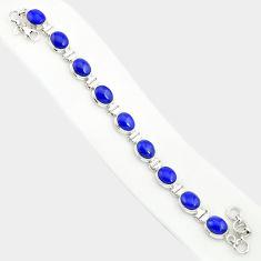 925 silver 37.45cts natural blue lapis lazuli oval shape tennis bracelet r84284