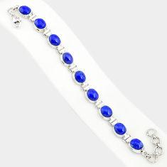 925 silver 37.43cts natural blue lapis lazuli oval shape tennis bracelet r84297