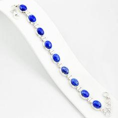 925 silver 37.43cts natural blue lapis lazuli oval shape tennis bracelet r84874