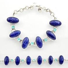 925 silver 46.92cts natural blue lapis lazuli topaz tennis bracelet r27464